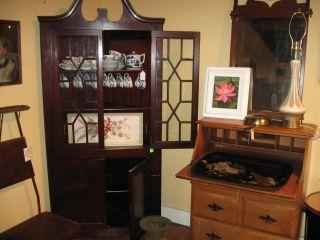 Mahogany China Corner Cabinet Closet With Glass Door photo