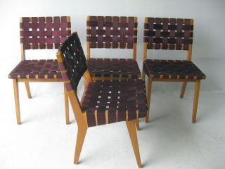 Knoll Webbed Birch Side Chair Set By Jens Risom Mid Century Modern Eames Design photo