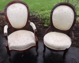 Pair Antique Victorian C1880 Black Walnut Medallion Chairs photo