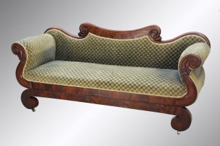 15891 Antique Country Empire Period Rolled Arm Sofa photo