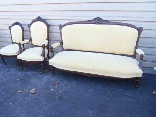 50107 3 Pc.  Antique Victorian Sofa Couch With Armchair And Side Chair photo