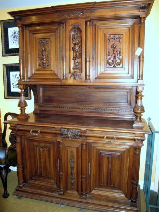 Beautifully Carved Large French Antique Hunt Cabinet (buffet/sideboard) photo