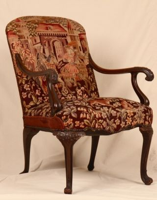 Late 19th Century Georgian Revival Tapestry Upholstered Carved Antique Arm Chair photo