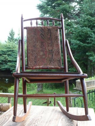 Antique Victorian Carpet Backed Rocking Chair Med.  Sized photo