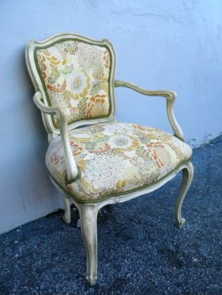 French Antique Distressed Painted Side Chair 2672 photo