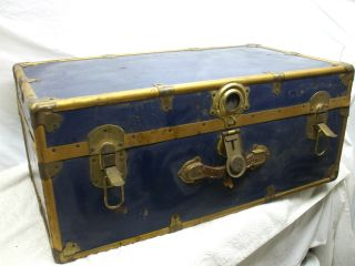 Vintage,  Blue Metal Trunk Exact Era Unknown Great Restoration Piece photo