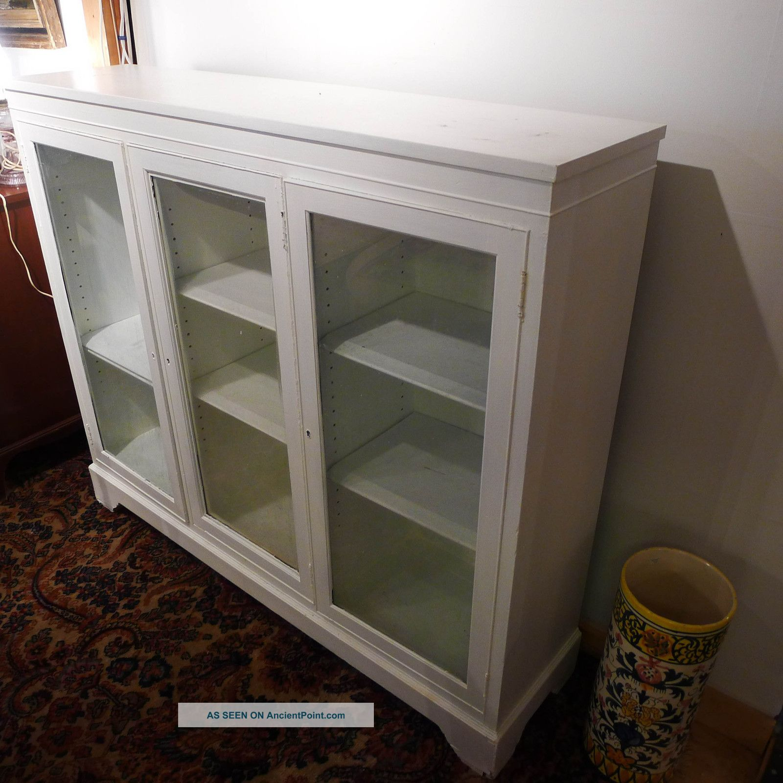 Antique Mahogany Standing Bookcase Painted White 55x13 5x47 5 Glass Swing Doors