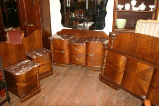 Gorgeous 4 Piece Tiger Oak Art Deco Bedroom Set photo