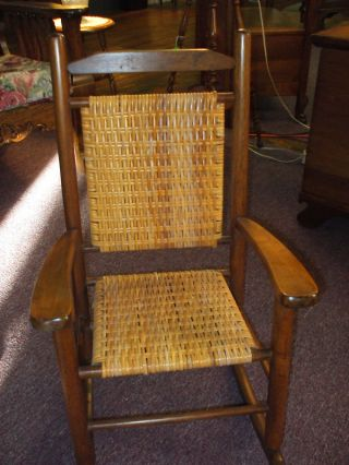 Antique Childs Rocking Chair (porch Rocker) Cane Seat Usa photo
