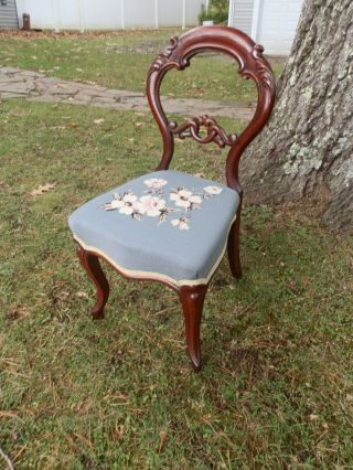 Gorgeous Antique Carved Balloon Back Chair W/needlepoint Seat photo