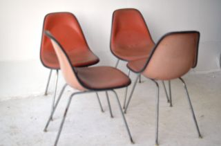 Red Fiberglass Shell Chairs Mid Century Modern Eames Design Herman Miller Pad photo