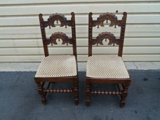 50234 Solid Oak Antique Carved Side Chairs Chair S photo