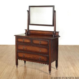 Antique Englsih Solid Oak Victorian Dresser Chest Vanity W/ Mirror C1920 18a photo