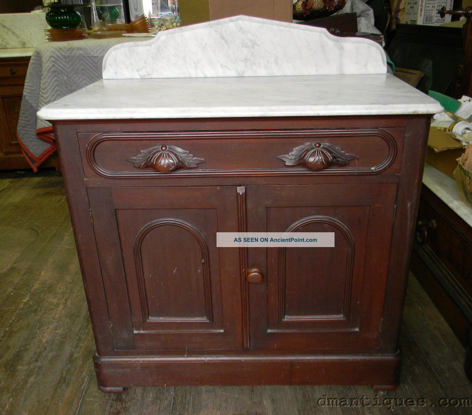 Antique Victorian Walnut Marble Top Bathroom Commode Wash Stand Storage  Cabinet