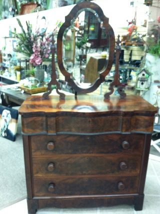 Antique Flame Mahogany 4 Drawer Chest With Mirror (empire) Circa 1860 photo
