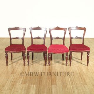 Antique English Solid Mahogany Victorian Dining Side Chairs Set (4) C1890's P85 photo