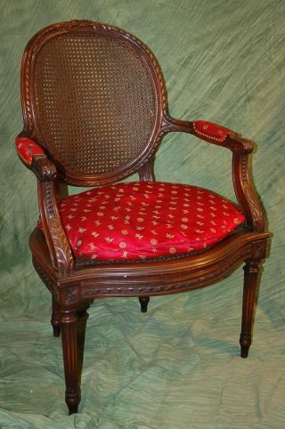 Finely Carved Antique French Fauteuil Armchair With Red Silk Upholstery photo