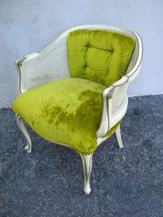 French Painted Side Chair With Caning 1741 photo