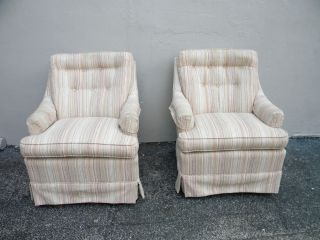 Pair Of Mid - Century Tufted Side By Side Chairs 2341 photo
