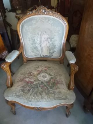Antique Walnut French Cabriole Leg Arm Chair Tapestry. photo