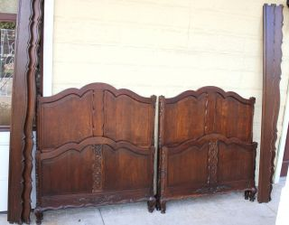 Set Of 2 Louis Xv French Antique Twin Size Beds.  Made From Oak photo