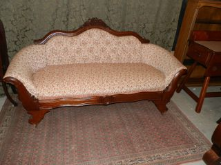 Wonderful Antique Victorian Parlour Sofa W/carved Grape Detail Hard 2 Find Size photo