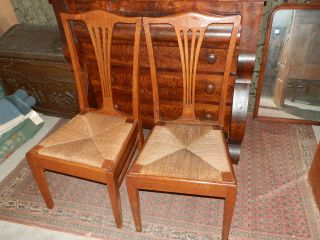 Pair Of Antique Victorian Tiger Oak Rush Seated Chairs photo