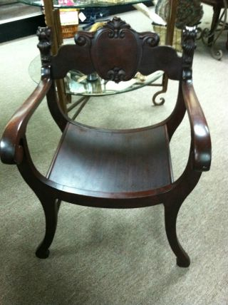 Gorgeous Antique Mahogany Stomps - Burkhardt Saddle Chair Circa 1900 photo