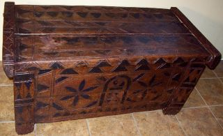 Antique Vintage Hand Carved Wood Pegged Trunk Chest 18th Century 1600 - 1700 ? photo