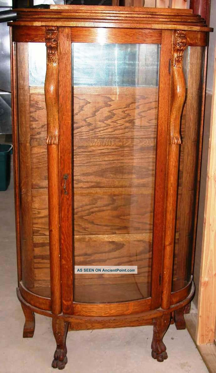 Wonderful Antique Circa 1885 Oak China Cabinet Curved Glass Mirror Claw Feet Nj
