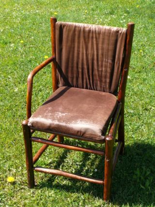 Old Hickory Martinsville Indiana Rustic Wooden Chair Basket Woven Back photo
