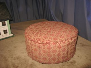 Antique 1800s Victorian Round Footstool Condition Walnut Feet & Fabric photo