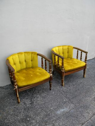 Pair Of Mid - Century Tufted Barrel - Shape Chairs By Statesville 2441 photo