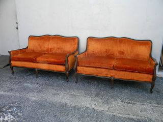 Pair Of Vintage French Love Seats 2511 photo