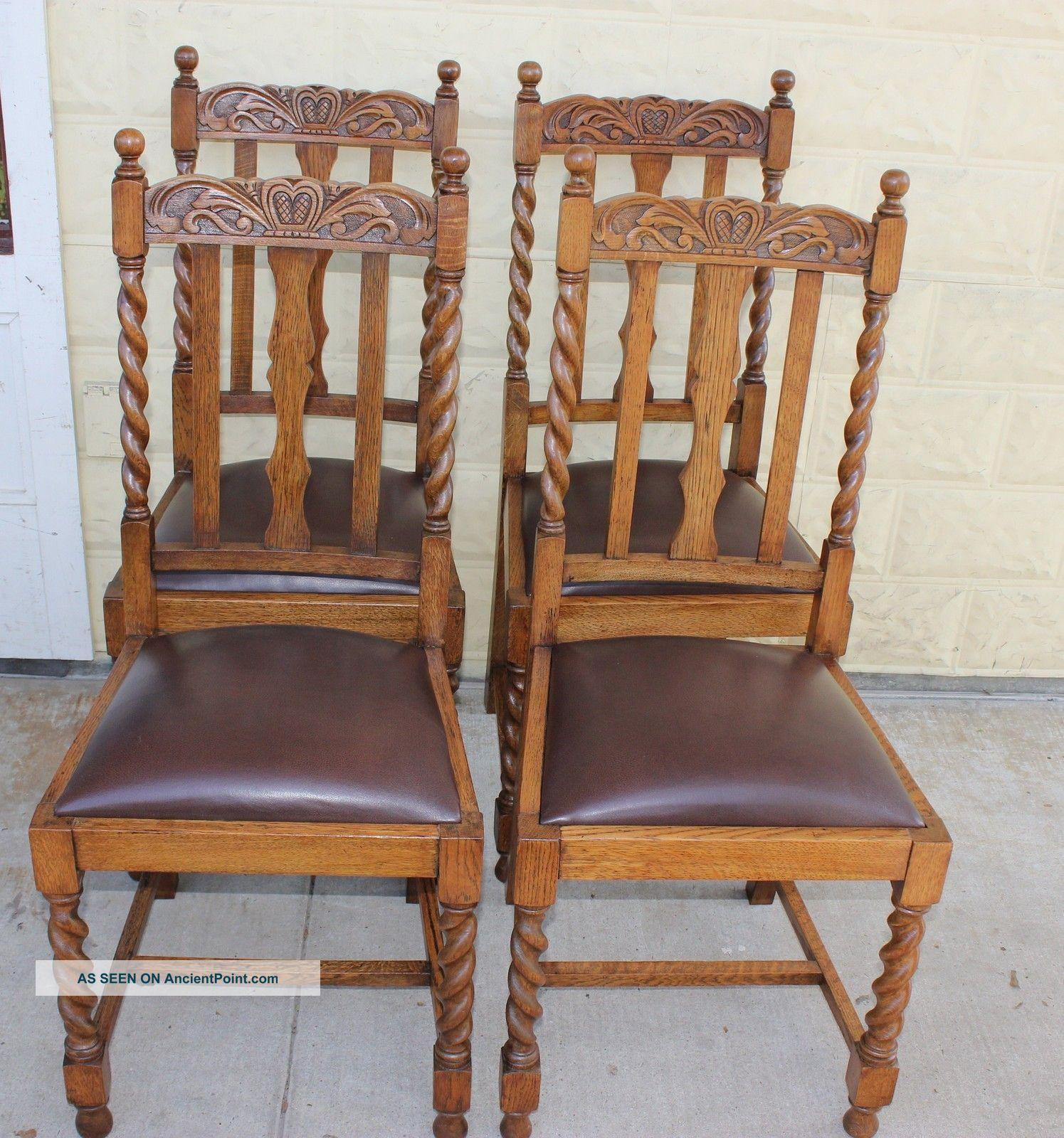 - Set Of 4 English Antique Oak Barley Twist Chairs. Sturdy &solid