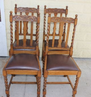 Set Of 4 English Antique Oak Barley Twist Chairs.  Sturdy &solid photo