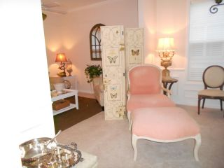 French Upholstered Chair And Ottoman - Louie Xiv Style photo