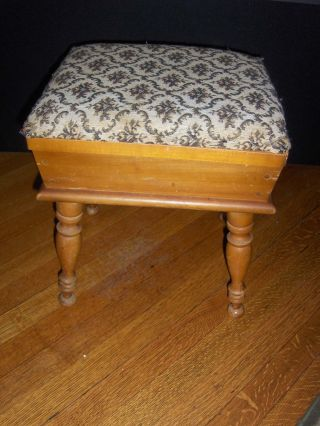 Anitque Sewing Box Foot Stool With Tapestry Cushioned Top,  Maple Wood photo