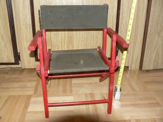 Antique Childs Canvas Seat & Back Red Wood Camping Fishing Chair Foldable Outdoo photo