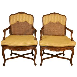 Vintage Pair Of French Style Shell Carved Stretcher Base Bergere Open Arm Chairs photo