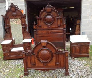 Victorian Walnut And Burl 3 Piece M.  T.  Bedroom Set,  Attr.  Thomas Brooks photo