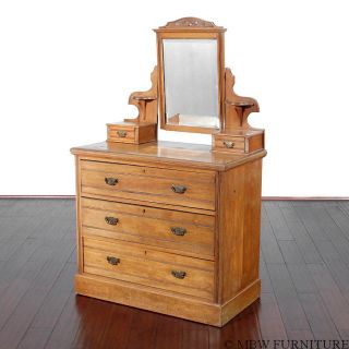 Antique Golden Walnut Chest Dresser Vanity W/ Mirror T72a photo