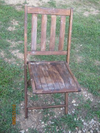 Vintage Old Wood Folding Chair Good For Decor photo