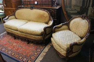 Rare Vintage Carved Louis French Provincial Country Chair Couch Loveseat Ships photo