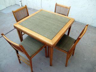 Rare Vintage 1957 Leg - O - Matic Folding Table & 4 Chairs Set photo