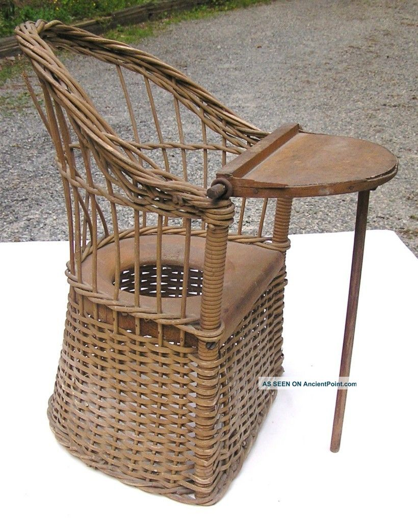 Heywood Brothers Wicker Wakefield Co Child ' S Commode Woven Potty Chair 1800-1899 photo