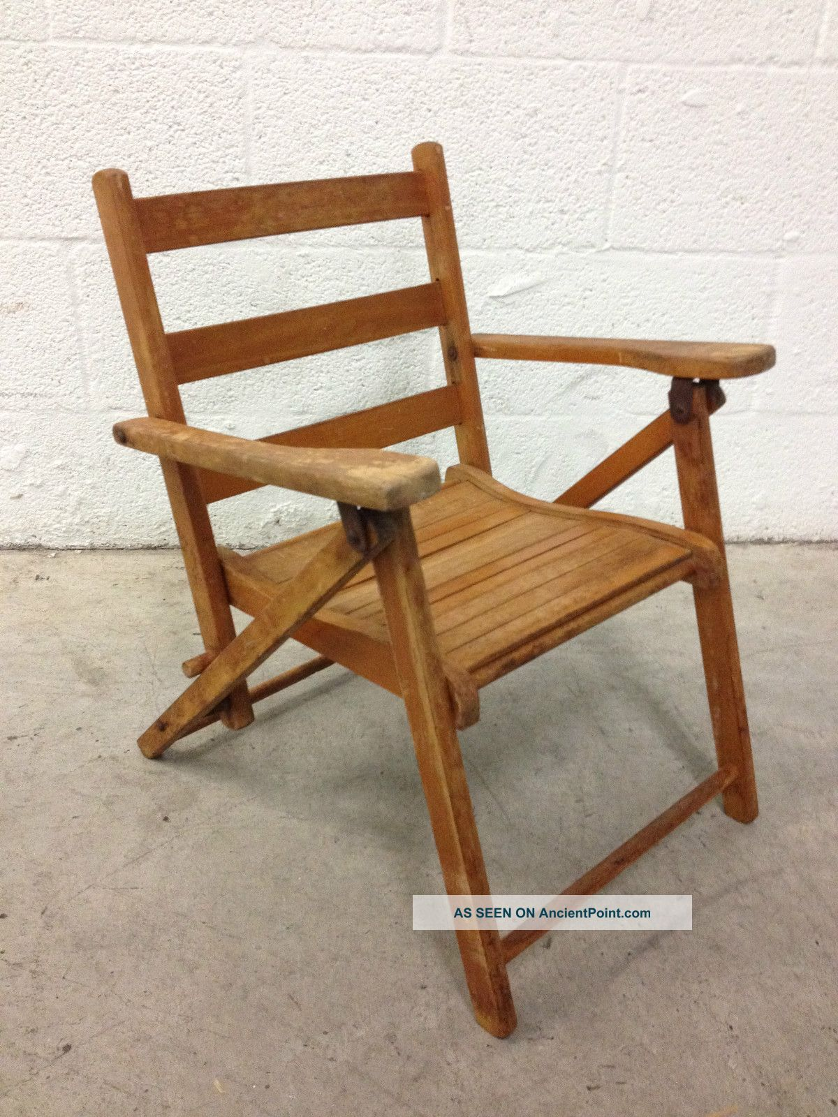Antique Teak Wood Childs Folding Beach Chair 1900-1950 photo
