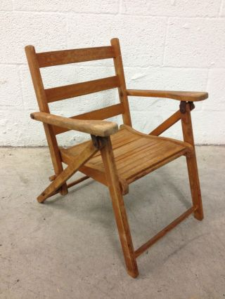 Antique Teak Wood Childs Folding Beach Chair Photo