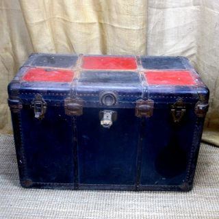Huge Vintage Rustic Crusty Green & Red Storage Trunk photo