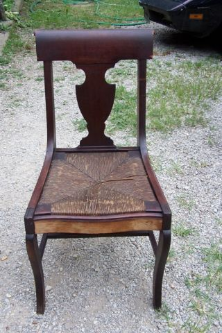 Antique Black Walnut Wood Splat Chair Sleigh Back photo